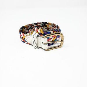 Vintage Rainbow Braided Leather Belt Size S/M
